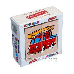 Деревянные кубики сложи рисунок транспорт Komarovtoys
