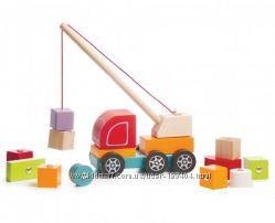 Деревянная машинка - пирамидка Авто кран с магнитными блоками Cubika