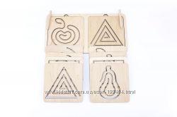 Деревянные линейки - трафареты для двух рук Розумний Лис 10 трафаретов