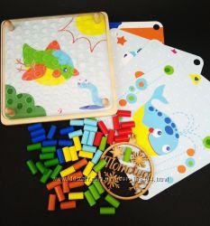 Деревянная мозаика конструктор Цветные колышки  Мозаїка Classic world 3586