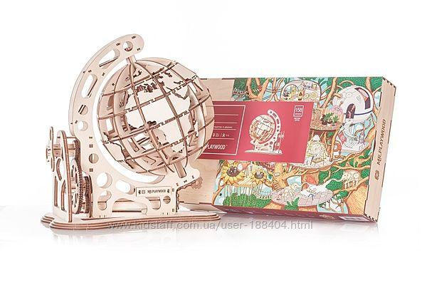 Механическая деревянная модель Глобус от Mr. Playwood. 10034