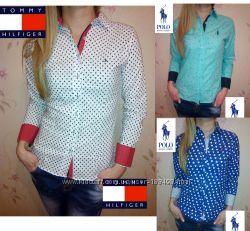 Шикарные женские рубашки Tommy Hilfiger, Lacoste, Ralph lauren