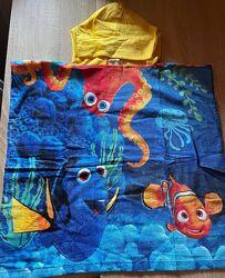 Детское пончо полотенце В поисках Немо, 58х62 см, рост 95-110 см