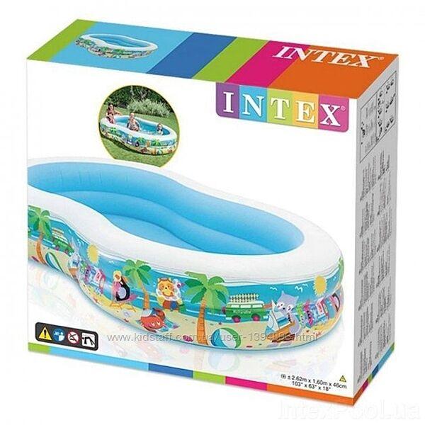 Надувной детский бассейн Intex 56490 Райская Лагуна, 262х160х46 см