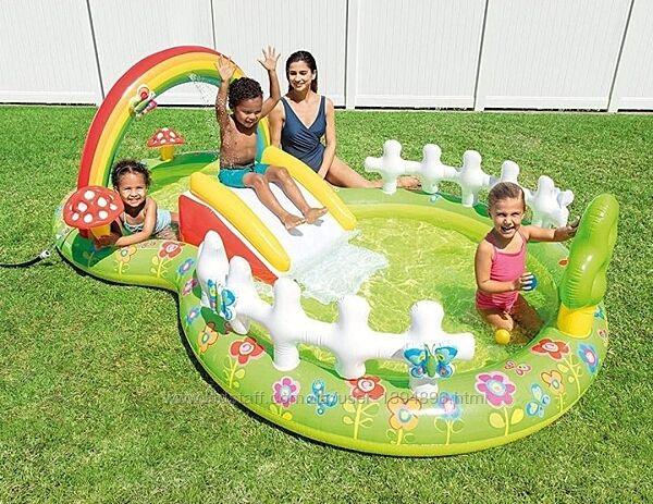 Детский надувной игровой центр бассейн Intex 57154 Мой сад c горкой