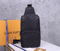 Мужская кожаная сумка Louis Vuitton нагрудная кожаная Луи Витон Люкс