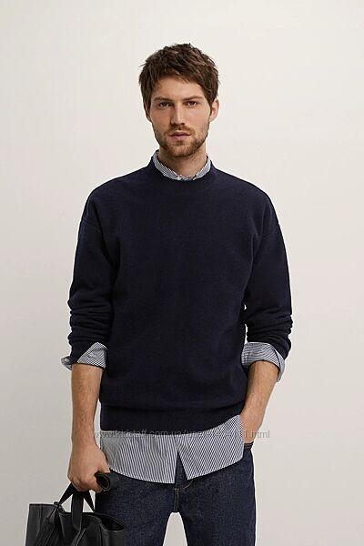 Свитер новый Zara Зара мужской L шерсть 70 теплый шерстяной синий чоловічи