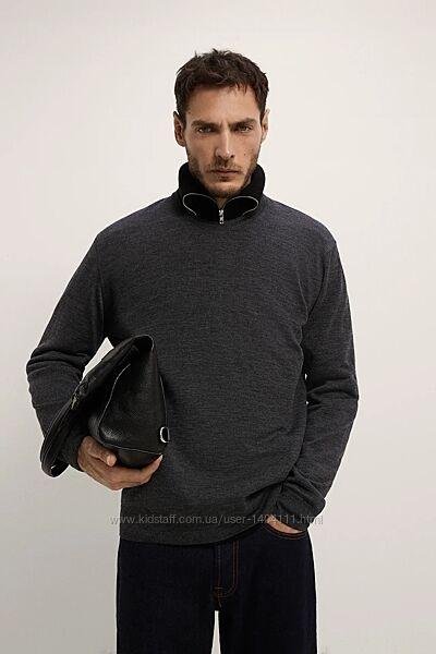 Свитер новый Zara Зара мужской 100 шерсть мериноса шерстяной серый вовна