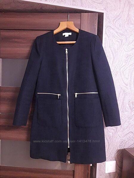 Фактурное пальто длинный жакет пиджак на змейке