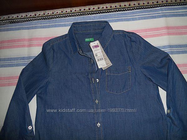 Джинсовая рубашка - туника для девочки от Benetton original Италия