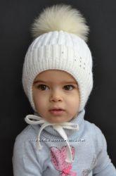 Зимняя шапка на флисе для девочек, 48-54 см