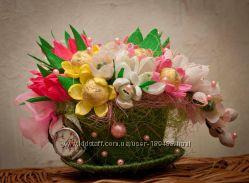 Корзины, букеты, лебеди, сердца, деревца из конфет ко Дню учителя