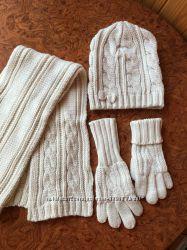 Комплект шапочка шарфик перчатки
