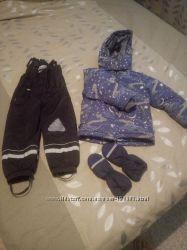 пуховик  камбез и рукавички