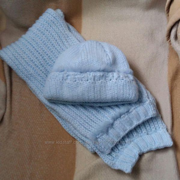 Мягенькая теплая шапочка и шарфик с меховой отделкой, р. 48- 52