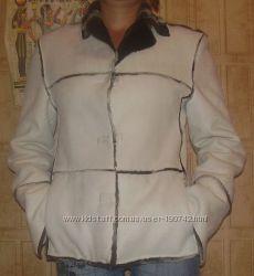 Демисезонная белая дубленка куртка р. 42 - 44