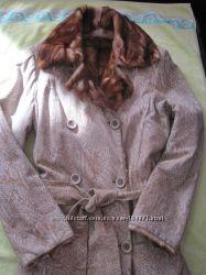 Натуральная кожаная дубленка-пальто, р. M-L.