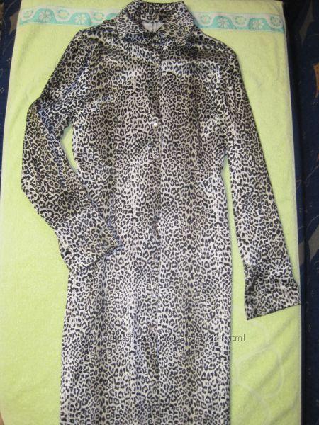 Фирменное платье-плащ с леопардовым принтом, р. M-L.