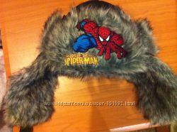 Фирменная зимняя шапка ушанка с вышивкой Человек Паук на ОГ 50см