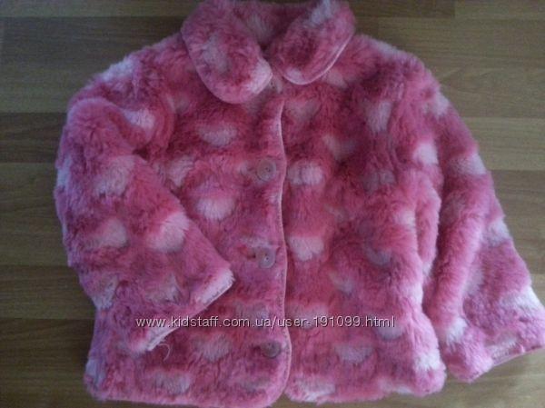 Розовая шубка в сердечках, на 4-5 лет