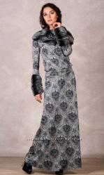 Платье серо-бежевое со съемным воротником и рукавами, 46-48 р. , новое