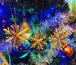 Деревянная снежинка, украшение вашей елки