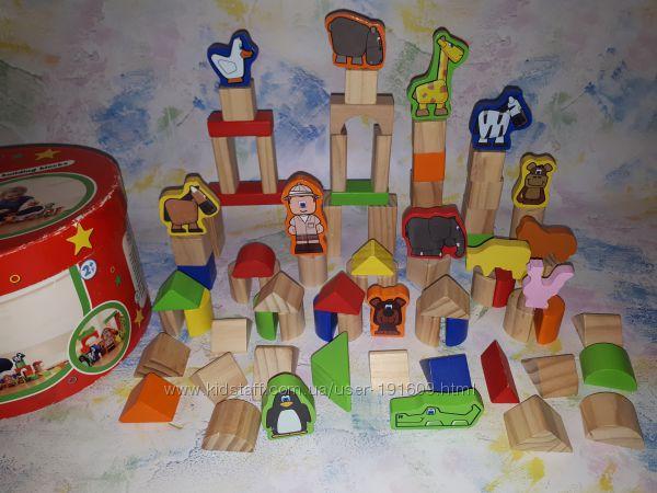 Набор строительных блоков Tesco деревянный конструктор Зоопарк бу