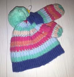 Вязаный комплект из шапки и рукавичек Next 1-2, 3-4, 5-6 лет