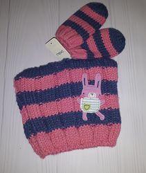 Вязаный комплект из шапки и рукавичек Next 1-2 года