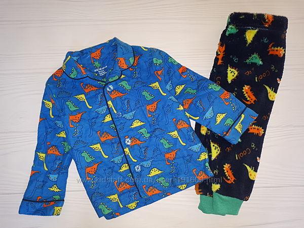 Теплая плюшевая пижама Primark мальчику 6-9 Новая