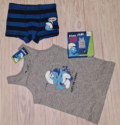 Комплект белья Смурфики, майка и трусы боксеры Lupilu мальчику 1-2, 2-4 год