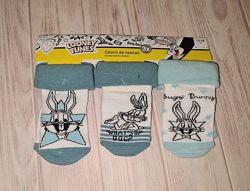 Высококачественные хлопковые носки комплект 3 пары Lupilu Луни Тюнз 6-12м