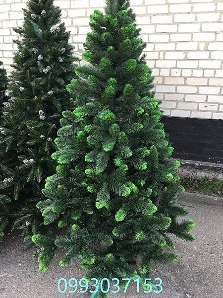 Искусственная зеленая елка Королева Европейская ПВХ салатовый кончик