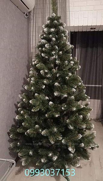 Искусственная зеленая елка Королева Европейская ПВХ белый  кончик