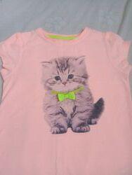 Яркая футболочка с котиком 3-4 года