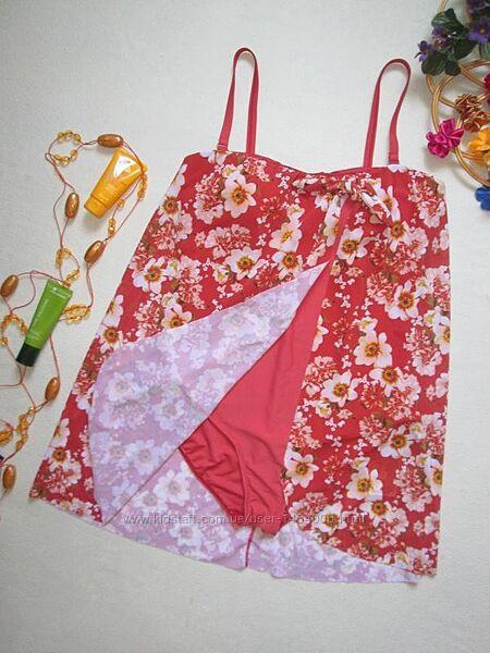 Шикарный сдельный слиный купальник платье в цветочный принт TU.