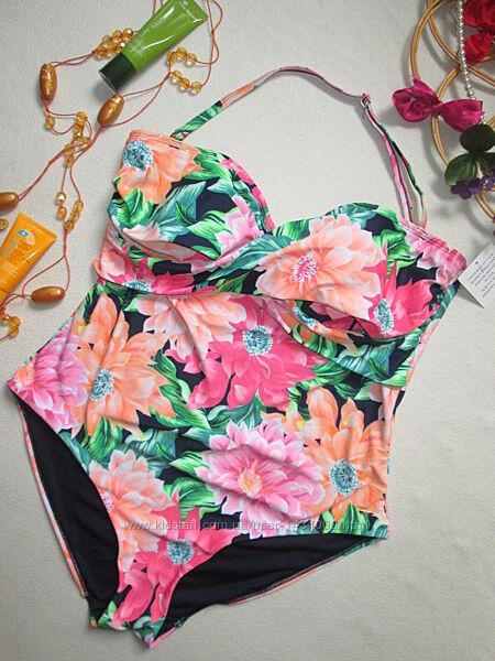 Шикарный сдельный слитный купальник батал в цветочный принт F&F
