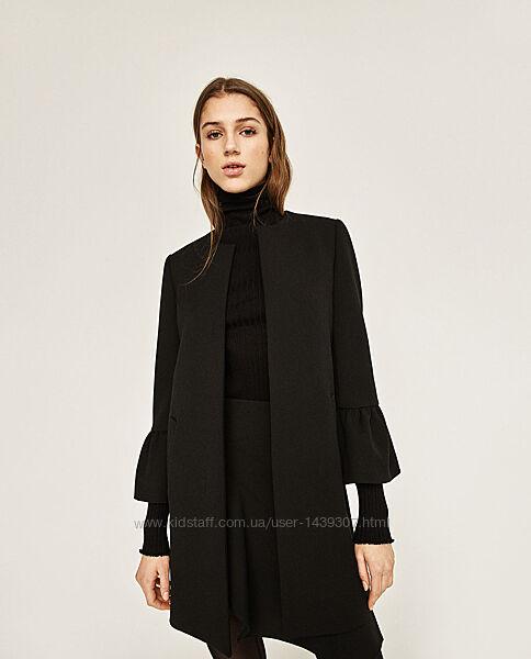 Чёрное пальто без застёжек, накидка zara с рукавом 3/4 p. m