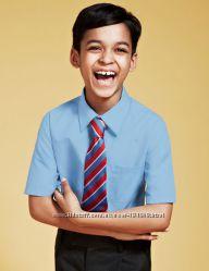 Рубашки школьные короткий рукав голубые 7-8 лет, рост 128 M&S Англия