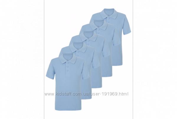 Новые голубые поло для школы 7-8 лет рост 122-128 бренд George Англия
