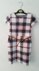 Платье с карманами, клетка с поясом р. 2-4 бренд H&M Англия