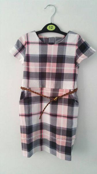 Платье с карманами, клетка с поясом р. 2-4 года бренд H&M Англия