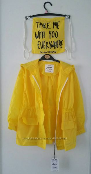 Легкие ветровки 6 лет бренд Zara желтого цвета