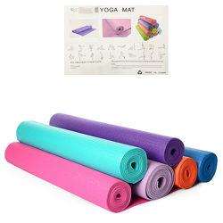 Коврик Profi для фитнеса и йоги PVC 1,73мx0,61мx4мм