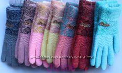 Теплые перчатки для девочек от 9 лет
