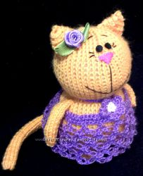 Кошечка-модница, ручная работа, вязаная игрушка