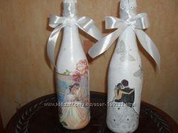Свадебные бокалы и шампанское под  заказ
