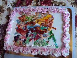 Торт украшеный вафельной картинкой, торты на заказ в Киеве