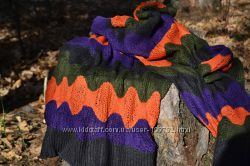 Шарф объемные Ромбы. Теплый вязанный шарф
