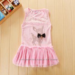 Красивое нарядное платье Олененок или Минни 90-120 для юной леди